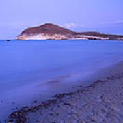 Blue Sea At Sunset Art Print