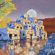 Blue Serpent Pueblo Art Print by Jerry McElroy