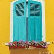 Blue Shutters And Flower Box Art Print
