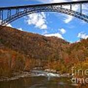 Blue Skies Over The New River Bridge Art Print