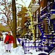Blue Snowy Staircase And Birch Tree Montreal Winter City Scene Quebec Artist Carole Spandau Art Print