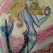 Blue Spike Mermaid Art Print