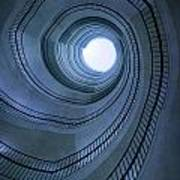 Blue Spiral Staircaise Art Print