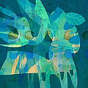 Blue Square Retro Art Print by Ann Powell