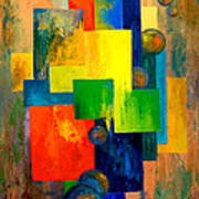 Blue Squared Art Print by Larry Martin