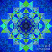 Blue Sri Yantra Variation Art Print