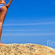 Blue Striped Bikini Art Print by Diane Diederich