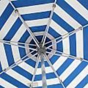 Blue Striped Umbrella Art Print