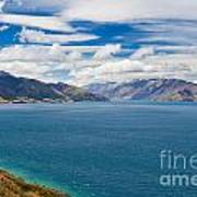 Blue Surface Of Lake Hawea In Central Otago Of New Zealand Art Print