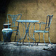 Blue Table And Chairs Art Print