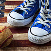 Blue Tennis Shoes And Baseball Art Print