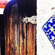 Blue Tile Brown Door 1 Art Print