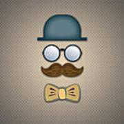 Blue Top Hat Moustache Glasses And Bow Tie Art Print