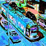 Blue Trolley Portland Art Print