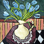 Blue Tulips On Octagon Table Art Print