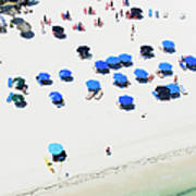 Blue Umbrellas On A Sunny Beach Art Print