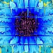 Blue Wallflower Abstract Art Print