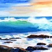 Blue Water Wave Crashing On Rocks Art Print