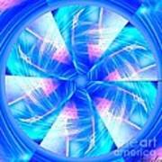 Blue Wheel Inflamed Abstract Art Print