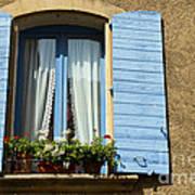 Blue Window And Shutters Art Print