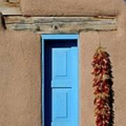 Blue Window Of Taos Art Print by Heidi Hermes