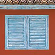 Blue Window Shutter Of Aruba Art Print