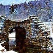 Blue Winter Stone Bridge Art Print