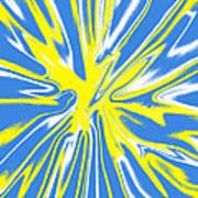 Blue Yellow White Swirl Art Print