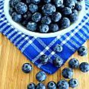Blueberries And Blue Napkin Art Print
