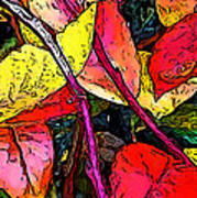 Blueberry Autumn Leaves Art Print