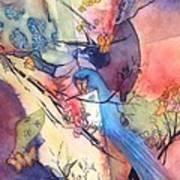 Bluebird And Butterflies Art Print