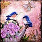 Bluebirds And Butterflies Art Print