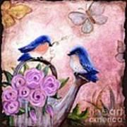 Bluebirds And Butterflies Art Print