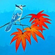 Bluejay In The Fall 2 Art Print