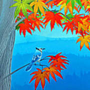 Bluejay In The Fall Art Print