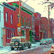 Blues And Brick Houses Winter Street Suburban Scenes The Point Sud Ouest Montreal Art Carole Spandau Art Print