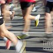 Blurred Marathon Runners Art Print