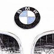 Bmw Z3 Emblem Sketch Art Print
