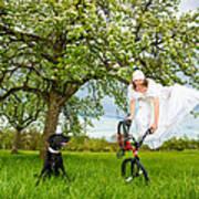 Bmx Flatland Bride Jumps In Spring Meadow Art Print