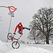Bmx Flatland In The Snow - Monika Hinz Jumping Art Print by Matthias Hauser