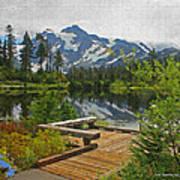 Board Walk- Lake- Fir Trees And Mount Baker Art Print