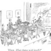 Boardroom With Boss Speaking At Piano Shaped Art Print