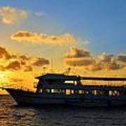 Boat At Sunrise Art Print