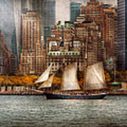 Boat - Governors Island Ny - Lower Manhattan Art Print by Mike Savad