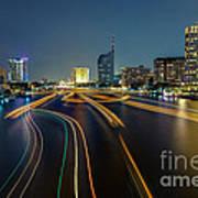 Boat Light Trails On Bangkok Chao Phraya River Art Print
