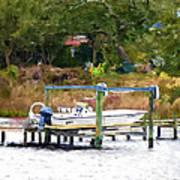 Boat On Dock Art Print