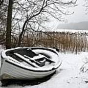 Boat On Iced  Lake In Denmark In Winter Art Print