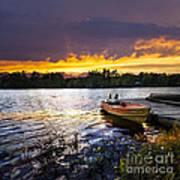 Boat On Lake At Sunset Art Print