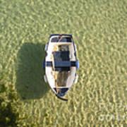 Boat On Ocean Art Print by Pixel Chimp