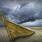 Boat On The Beach With Oncoming Storm Art Print